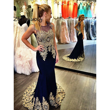 Fashion Arabic Evening Dresses With Appliques Mermaid Prom Dress Long Elegant Sleeveless Formal Party Gowns For Graduation 2019