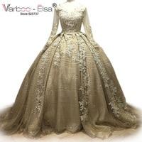Beads Crystal Sequins 2017 Luxury Long Sleeves Saudi Arabia Bridal Ball Bride Gowns Bling Bling Wedding