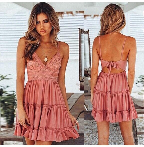 Summer Dress Solid Color...
