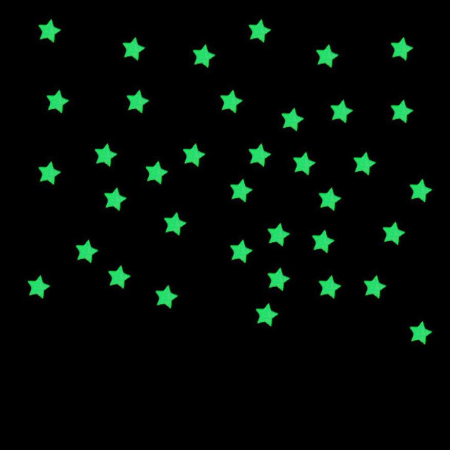 100PC Stars Wall Stickers Fluorescent Glow In The Dark Stars Wall Decor Living RoomTV Kids Safty Bedroom Decor Wallpaper
