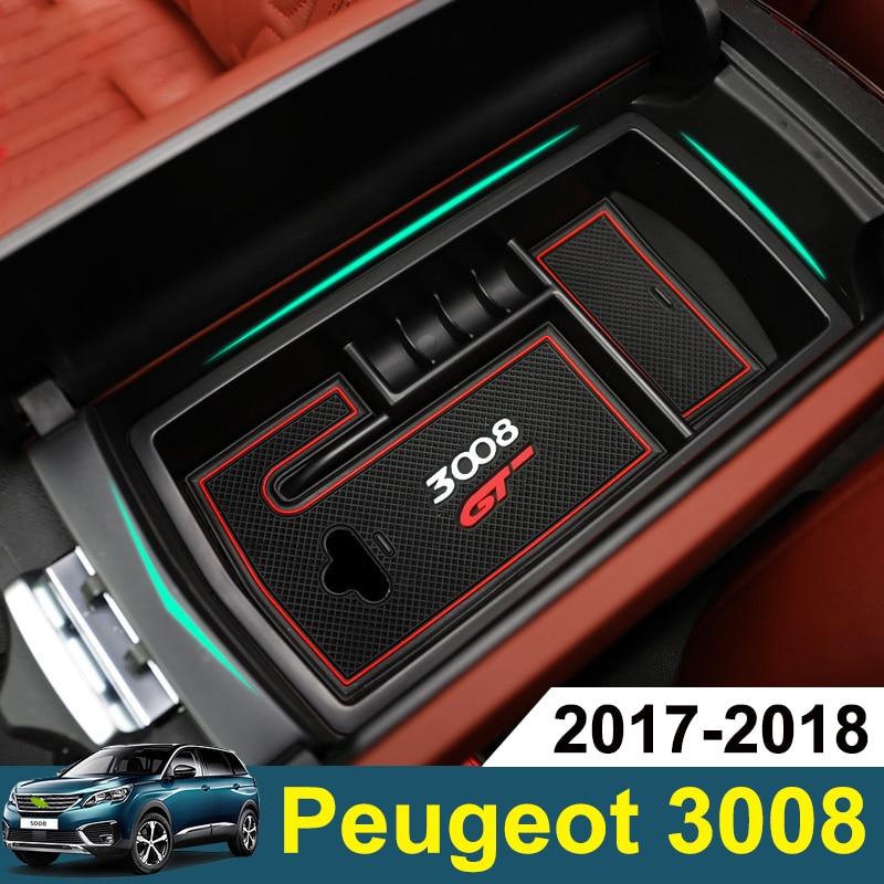2PCS Front Door Storage Box For Peugeot 3008 5008 2017 Armrest Glove Card Bin