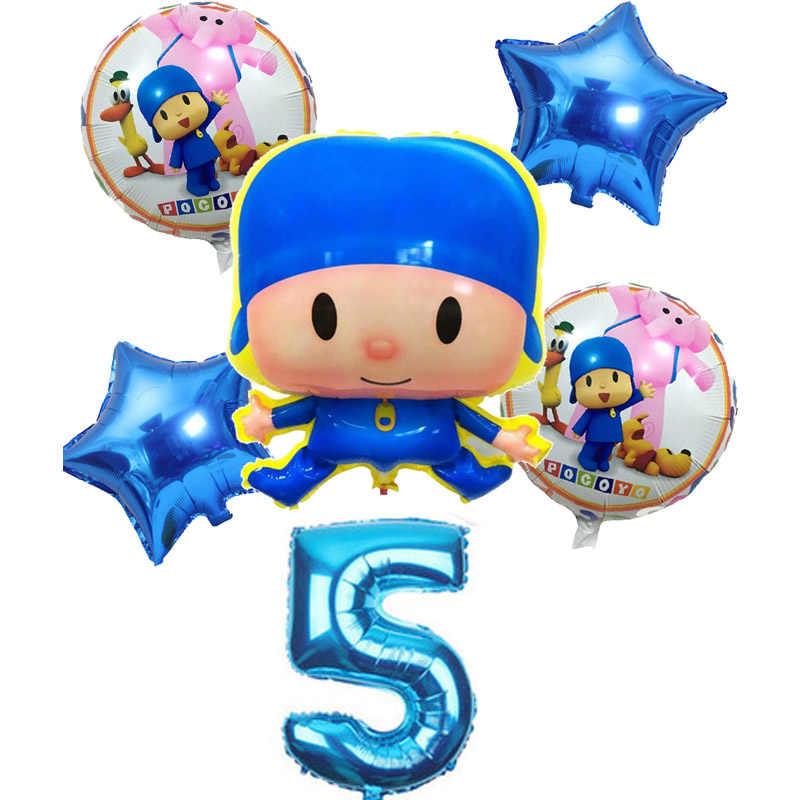 6 pçs/lote Pocoyo balões número da folha set baby shower Batismo decoração fontes da festa de aniversário crianças dos desenhos animados figura brinquedos globos