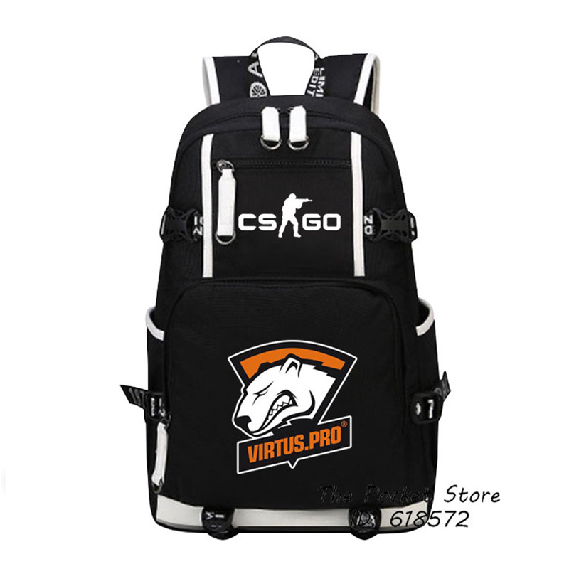High Quality Virtus.pro Team Fnatic DOTA 2 CS CSGO Printing Backpack Men Travel Bags Canvas Oxford School Bags Laptop Backpack
