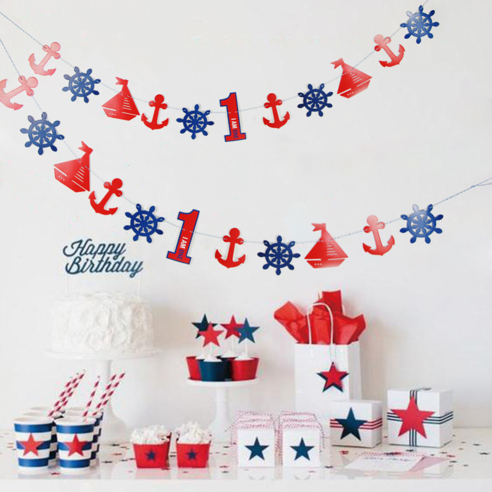 DIY Nautical Paper Banner Bunting Garland for 1st 2nd 3rd 4th 5th 6th Birthday Baby Boy Little Sailor Party Supplies