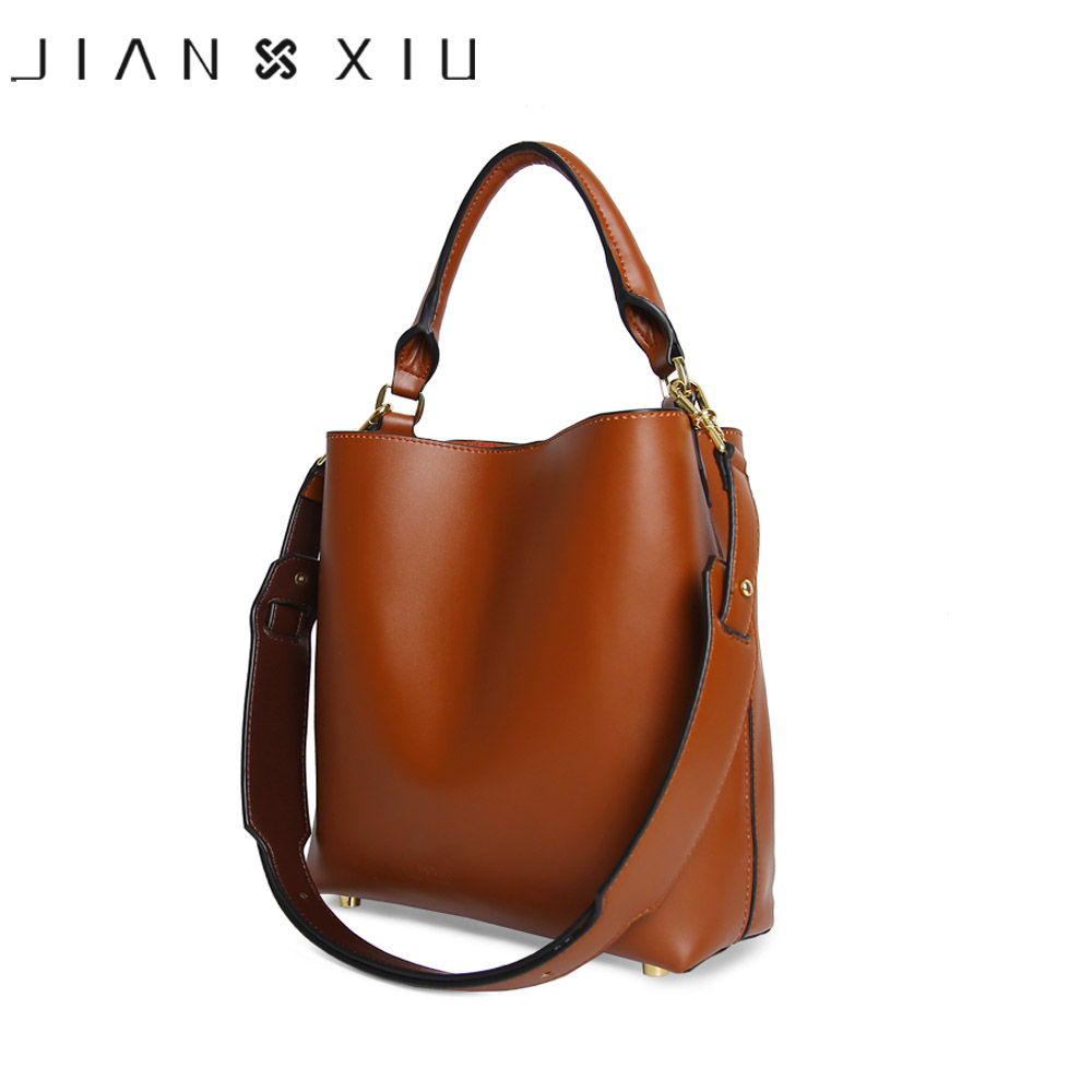 JIANXIU Brand Women Messenger Bag High Quality Genuine Leather Handbag Fashion Composite Bag 2017 Large Bucket