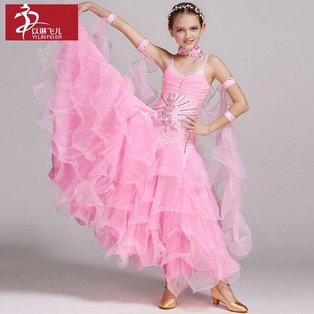 d8cdae5fd Children Modern Dance Competition Dress Girl Waltz Dance Dress Lace National  Standard Ballroom Dance Skirt Kids Flamenco Skirt
