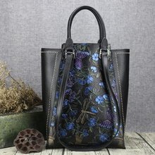 Maihui women leather handbags high quality shoulder bags cowhide real genuine leather tote bag chinese style embossing bag