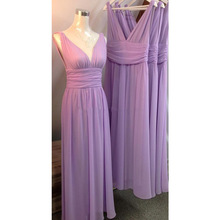 2017 Real Photos Lilac Bridesmaids Dresses V Neck Pleats Ribbon Backless Chiffon Beach Maid of Honor Wedding Guest Party Gowns
