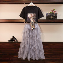 HAMALIEL New 2019 Summer Women's Black Leopard Print Bow T-shirt And Long Ball Gown Irregula Gray Mesh Skirt Fashion 2 Piece Set(China)