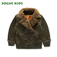SOGNI KIDS Spring Boys Buttoned Bomber Jacket Dark Green Chic Wide Waisted Lambswool Lapel Baby Overcoat