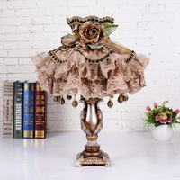 American Country Flower Table Lamp Living Room Bedroom Resin Desk Lamp Boutique Cloth Art led Table Lights Retro Table Lamps