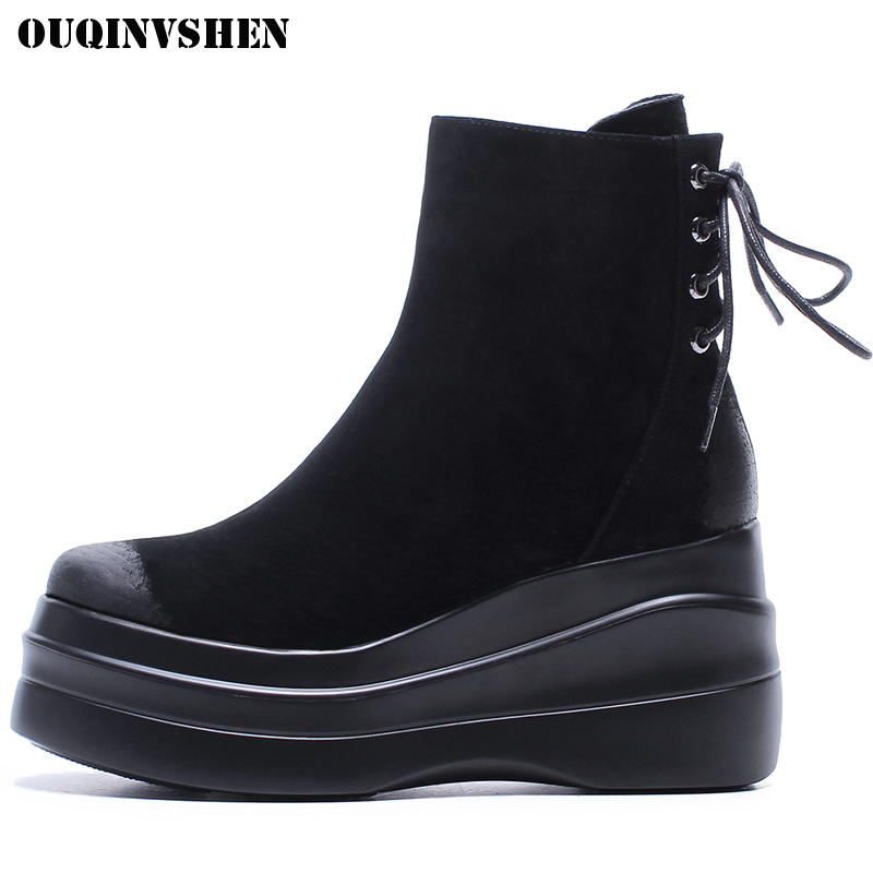 OUQINVSHEN Round Toe Flat Women Boots Casual Fashion Platform Women Ankle Boots  2017 New Winter Zipper Ladies Boots Shoes front lace up casual ankle boots autumn vintage brown new booties flat genuine leather suede shoes round toe fall female fashion