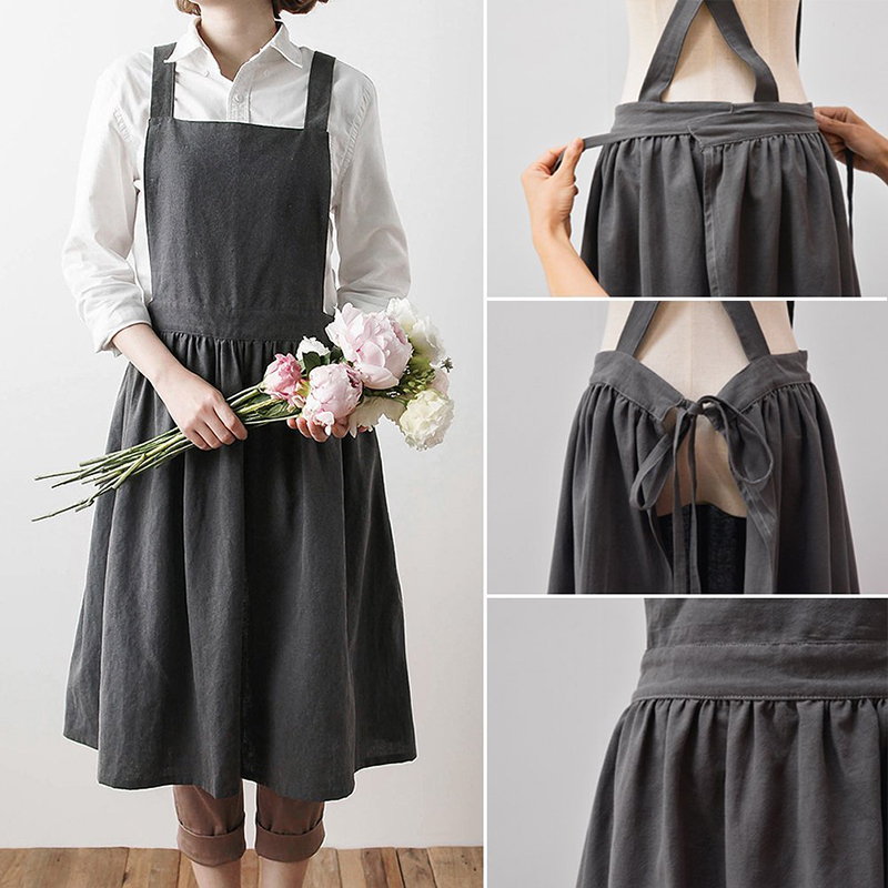 Hot Aprons Simple Washed Cotton Uniform Adult Aprons for Woman Lady Kitchen Cooking Gardening Coffee Shop