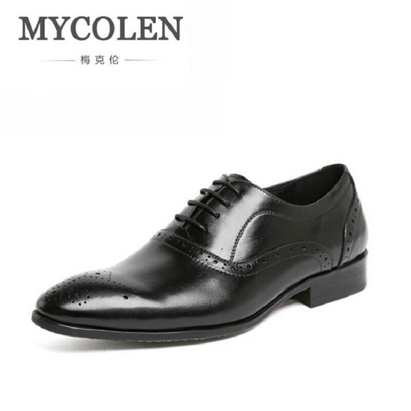 цена MYCOLEN Brand Formal Dress Men Shoes Black Leather Brogue Business Classic Office Mens Casual Oxford Italian Shoes sapatenis онлайн в 2017 году