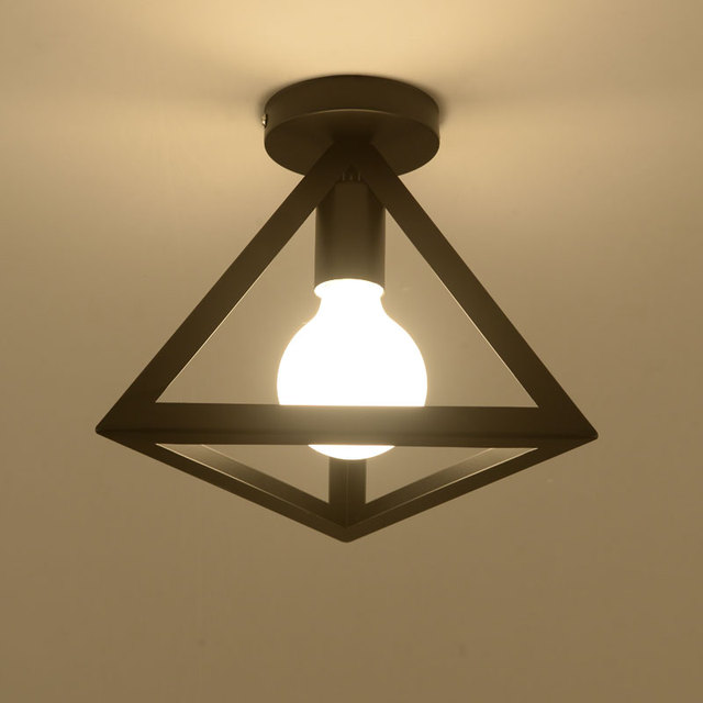 Vintage Ceiling Light Fixture Iron Black Ceiling Lamp Retro Cage Light  Kitchen Fixture Luminaria Lamparas De