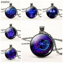 Zodiac Signs 12 Constellations Glass Cabochon Necklace Pendant Woman Man Birthday Gift Black Chain Fashion Jewelry стоимость