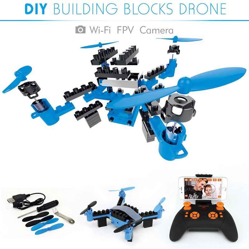 2.4G DIY Building Blocks Drone(6-Axis Gyro) with HD wifi FPV camera RC Drone Model children assembly toy education new style2.4G DIY Building Blocks Drone(6-Axis Gyro) with HD wifi FPV camera RC Drone Model children assembly toy education new style