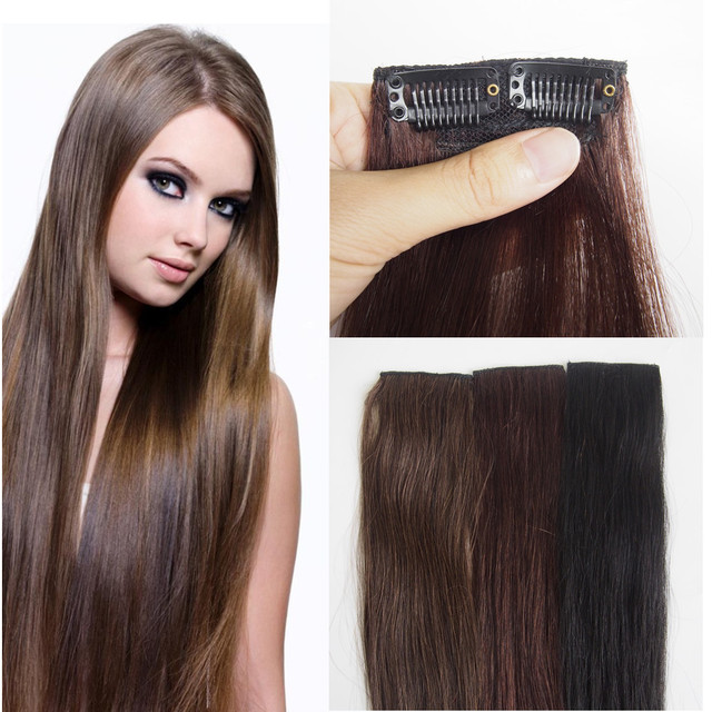 Amapro 8a Grade African American Clip In Human Hair Extensions 1b