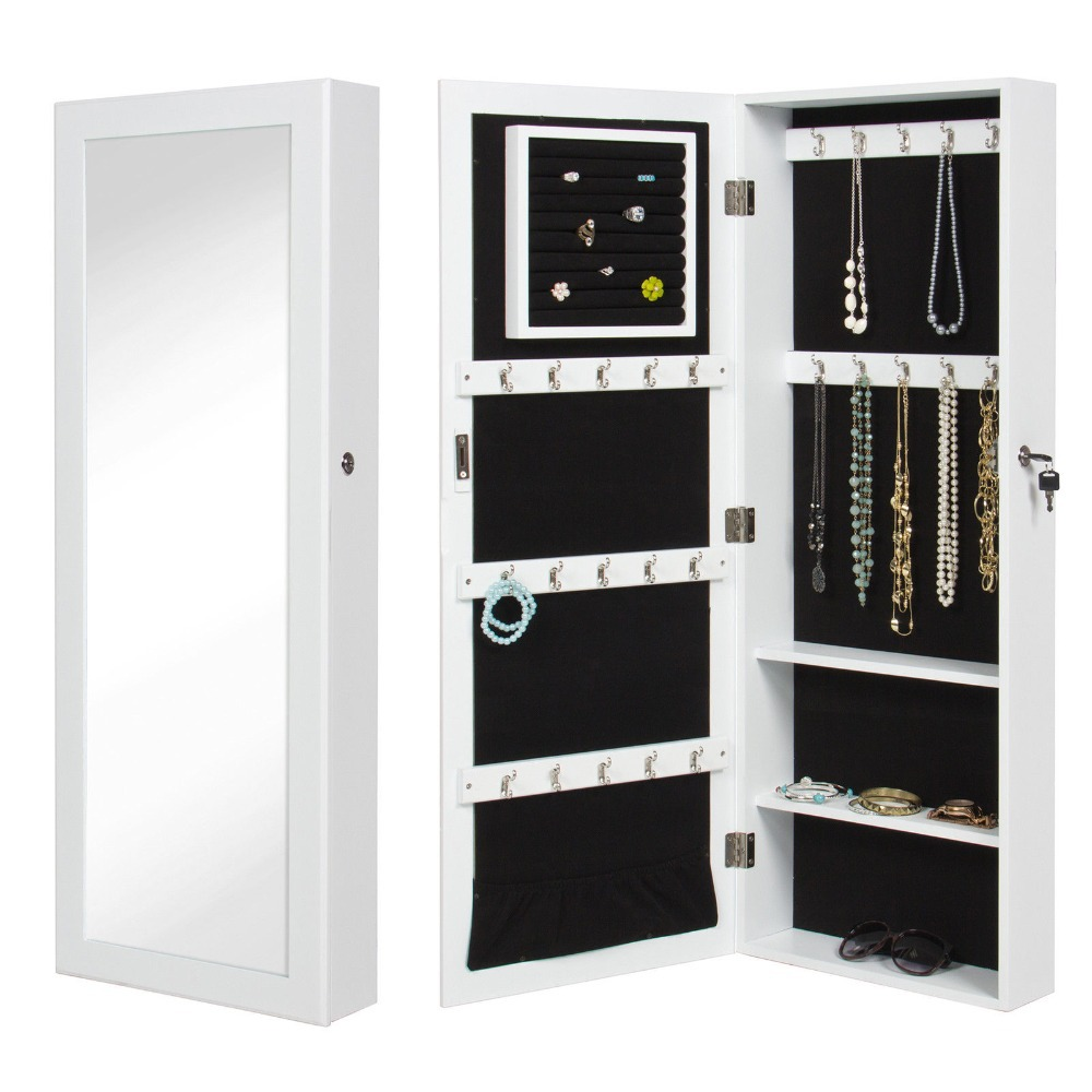 Storage Wall Mount Jewelry CaseWhite Mirrored Jewelry Cabinet Armoire  Organizer GHFG44 In Storage Boxes U0026 Bins From Home U0026 Garden On  Aliexpress.com ...