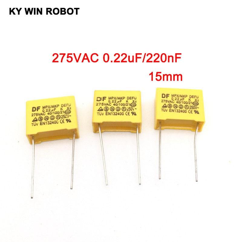 10pcs 220nF 0.22uf Capacitor X2 Capacitor 275VAC Pitch 275V 15mm X2 Polypropylene Film Capacitor 0.22uF