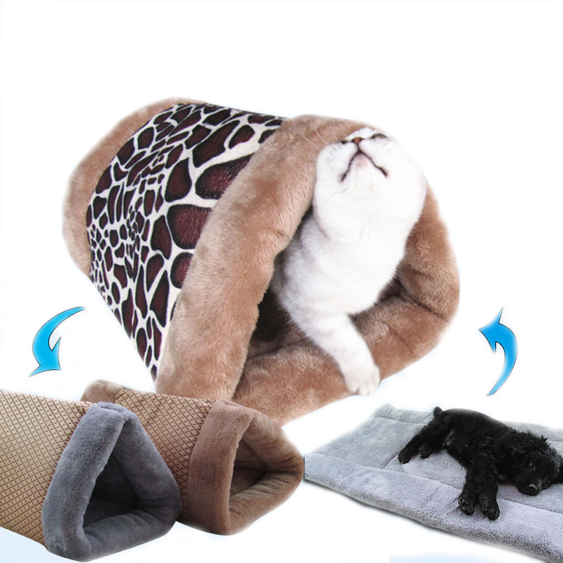 Pet Cat Sleeping Bag Warm Dog House Tunnel Soft Pet Sofas Nest Dual Purpose Kitten Cushion Animals Mats Pet bed Bags PD0027