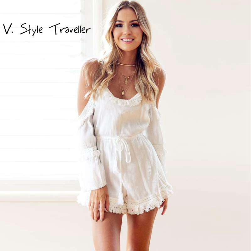 149c26fba06 Casual Camis Playsuit Cut Out Sexy Bodysuit Women Shorts Boho Jumpsuit  vestido Summer Style Beach Resort Tassels White Rompers