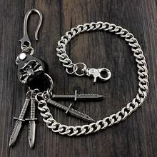 Heavy metal czaszka długi portfel łańcuch męskie spodnie chłopięce Jeans chain N04 tanie tanio kc-30 XTOM2013 wallet chain Stainless Steel