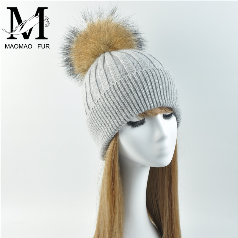Women Winter Hat Female Removable Real Raccoon Fur Pompom Hat Cap Wool Knitted Hat Natural Fur Pompon Hat For Women Beanies