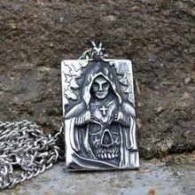 Mens Stainless Steel Death Satan Cross Skeleton Skull Pendant Silver Color Punk Fashion Biker Demon Jewelry