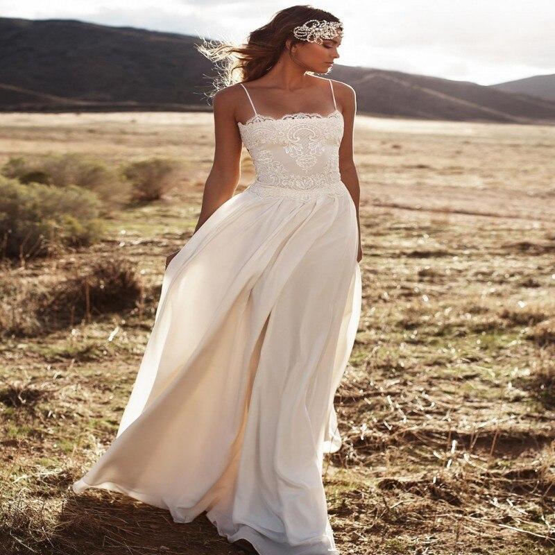 Vintage Lurelly Beach Lace Wedding Dress Spaghetti A Line