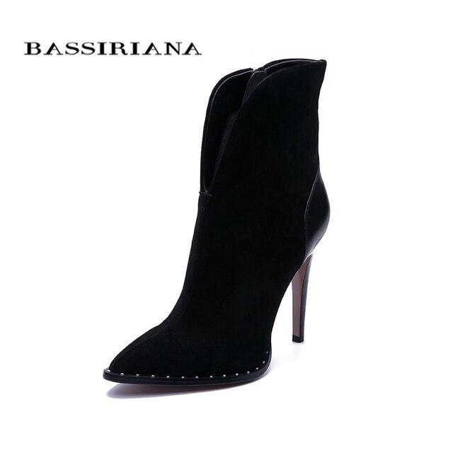 BASSIRIANA 2019 nuove Donne Sexy di Modo Stivali Zip Stivali Alti talloni Della Signora punta a punta Stivali di Colore Nero Taglia 35  40