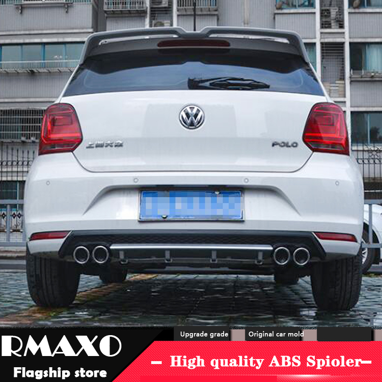 For POLO ABS Rear Bumper Diffuser Bumpers Protector For 2011 2016 Volkswagen POLO Body kit bumper