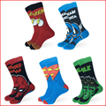 Hombres mujeres algodón calcetines de marvel comics avenger capitán américa superman spiderman hulk flash cartoon hero odd future calcetines divertidos