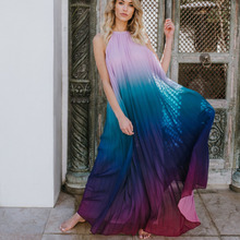 d2161d79f0 Loneyshow kobiety sukienka maxi z odkrytymi plecami sukienka 2018 Sexy  Ombre plisowane bez rękawów lato sukienka