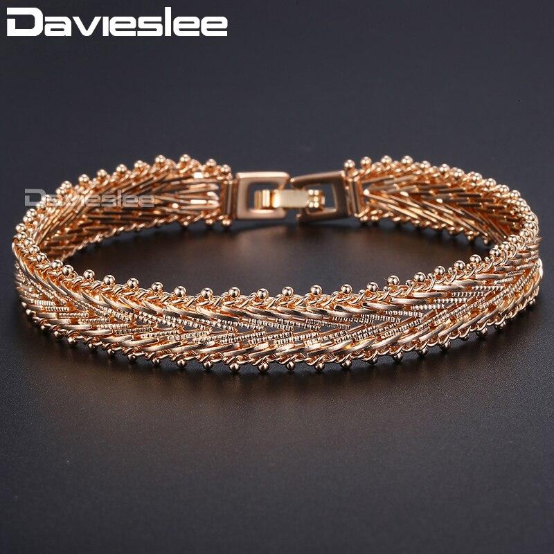 Davieslee Bracelet Pour Les Femmes 585 Rose Or Rempli À La Main Caténaire V-Type Lien Bracelet de Bracelet Femmes 10mm 21.3 cm DGB425