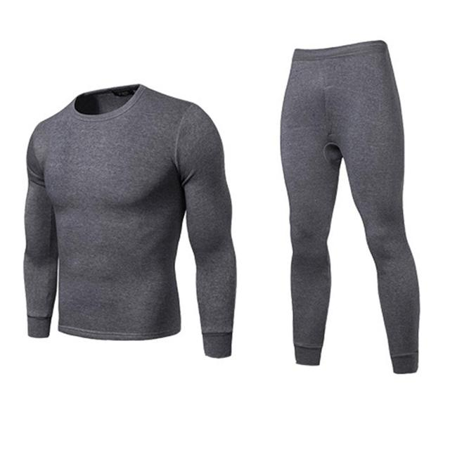 Men Winter Warm Long Johns Plus Size Solid Color Thermal Long Sleeve Top Pants Underwear Set