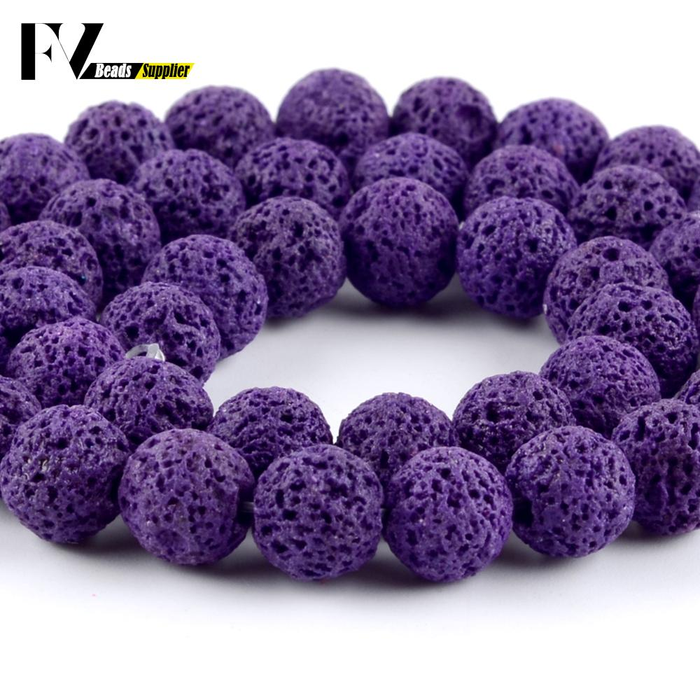 Natural Purple Lava Stone Round Loose Beads For Needlework Jewelry Making 6-12mm Volcanic Rock Gem Beads Diy Handmade Jewellery