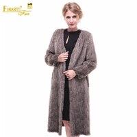 Knitted Real Mink Coats V Neck Fashion Women Genuine Fur Coats Mink China Luxury Ladies Mink