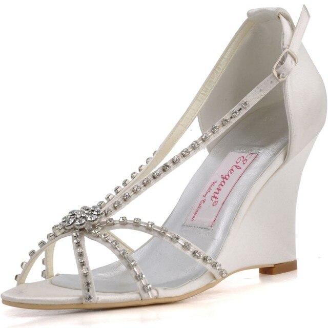 51e2f9e03 MC 023 Branco Marfim vestido de Noiva Prom Partido Saltos Cunha Mulheres  Sandálias Verão T alça Cetim Sapatos Casamento Vestido Noite Prata