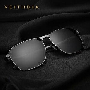 VEITHDIA العلامة التجارية الرجال خمر مربع النظارات الشمسية المستقطبة UV400 عدسة نظارات اكسسوارات الذكور نظارات شمسية للرجال/النساء V2462