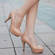 Sapato salto alto couro envernizado feminino, calçado feminino nude afiado paltform casamento plus size 34 42Sapatos femininos