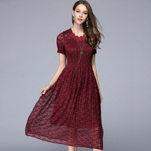 2017 New Summer Women Lace Mesh Elastic Pleated Long Dresses Tunic Dress Elegant Party Plus Size Woman Clothing Black Red Green