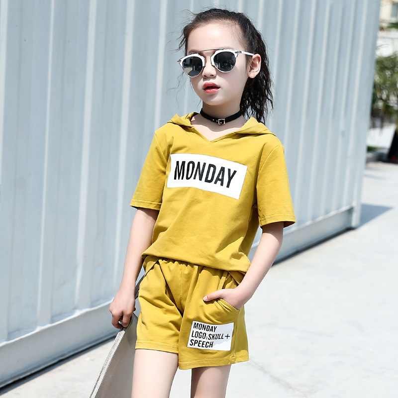 2018 Новый лето-осень шорты костюм для комплект для девочек 2 шт. Детские Для мальчиков ясельного возраста одежда хлопковая футболка + коротки...
