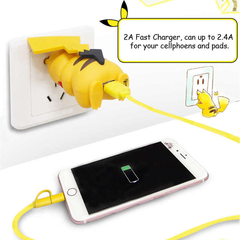 For Iphone Charger Cute Pikachue Usb Phone Charger For