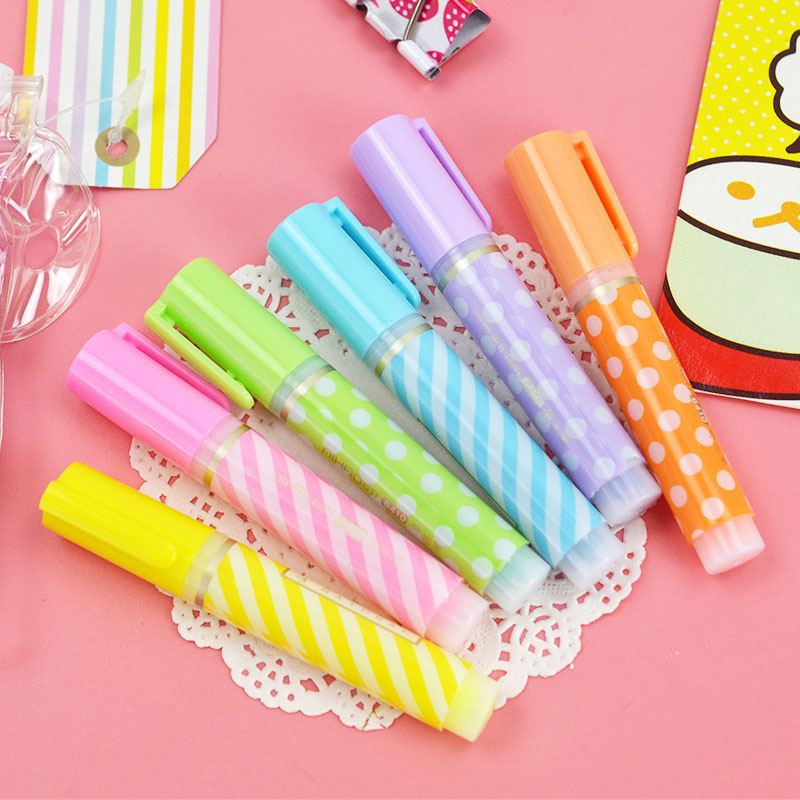 6 Pcs/lot(1 Bag) Cute Dot Stripe Plastic Highlighters Kawaii Marker Pens For Kids School Supplies Student 1506