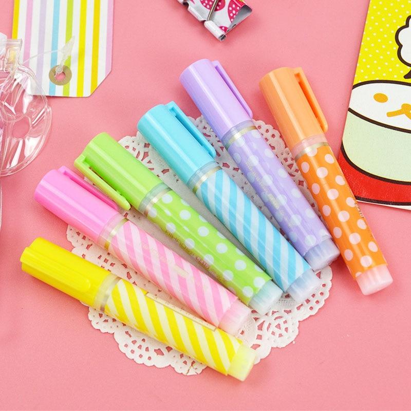 6 pcs/lot(1 bag) Cute Dot Stripe Plastic Highlighters Kawaii Marker Pens For Kids School Supplies Student 1506 ...