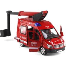 цена на Alloy car 119 fire rescue vehicle with sound and light pull back fire truck fire alarm car model educational toys for boy kids
