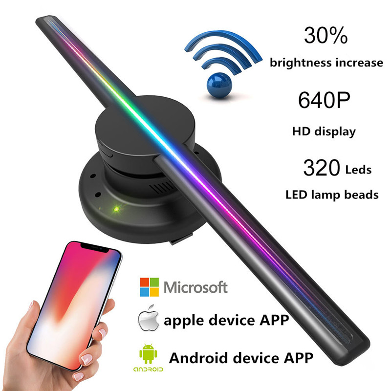 Projecteur holographique 3D lumière mise à niveau Wifi lecteur hologramme LED affichage ventilateur publicité lumière APP contrôle 320 LED s Logo lumières