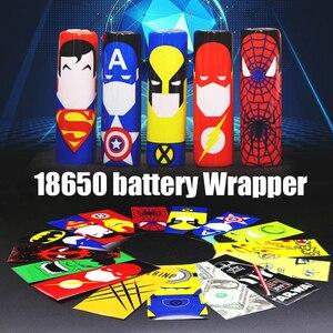 100 шт красивый узор 18650 батареи обертки наклейки Супер Герой Стиль протектор кожи электронная сигарета Vape батарея стикер
