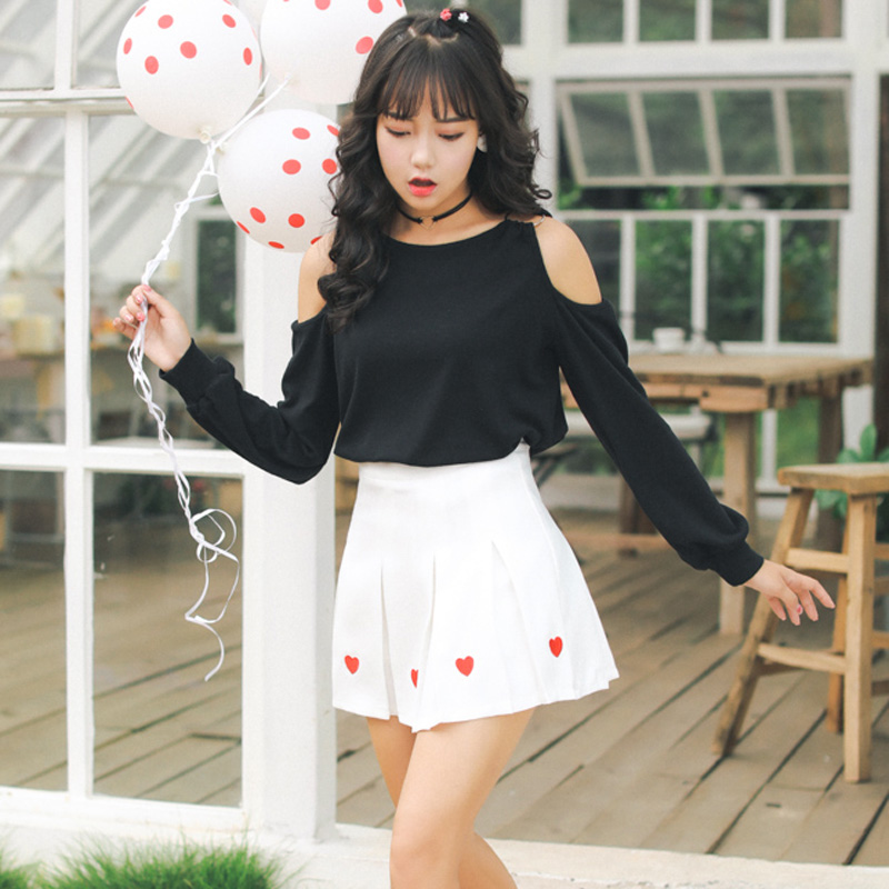73651187bb 2018 New Women Mini Skirts Heart Embroidery High Waist Skirts Harajuku  Kawaii Cute Skirts Pleated Mini Ladies Skirts #6685-in Skirts from Women's  Clothing ...